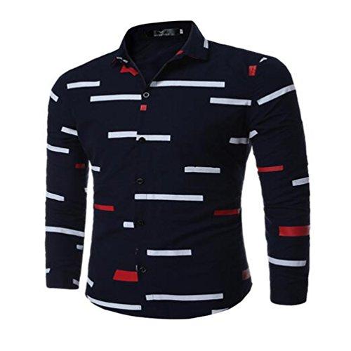 Sommer und Frühling Herren Hemden für Männer Drucke, Langarm Shirts, Navy Blue, M
