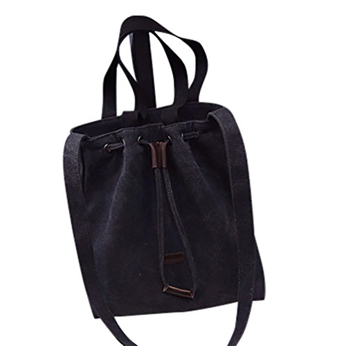 Baymate Donne Conciso Borse Riutilizzabili Colore Puro Shopping Bag Nero