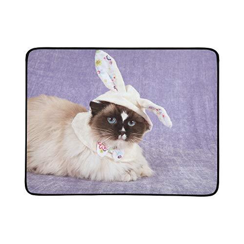 SHAOKAO Recht Nette Katze, die niedliche tragbare und Faltbare Decken-Matte Ostern 60x78 trägt, handliche Matte für kampierenden Picknick-Strand