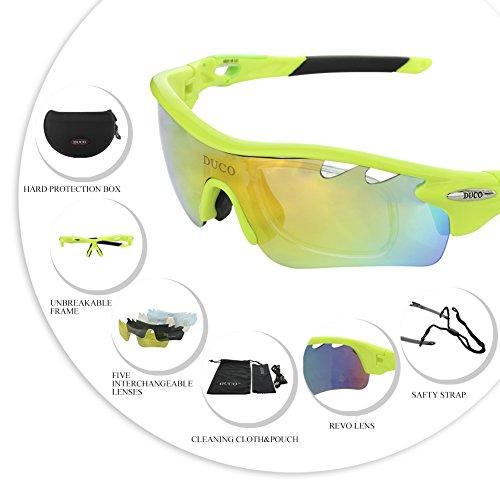 Duco Polarisierte Fahrradbrille Radfahren Sportbrille Sonnenbrille Schutzbrille 0025 (Grün) - 3