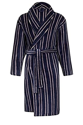 Mens Luxury Striped Dressing Gown + Belt Gents Fleece Bath Robes Gents Stripe Robe Housecoat Xmas Gift Present Size L