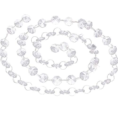 Prevently 1 M DIY Türvorhang Kristall Girland Crystal Clear Acrylic Bead Garland Türvorhang hängende Partei Dekor Hochzeit DIY Dekor Anhänger Perlenvorhang Weihnachtsdekoration (Crystal Garland Bead)