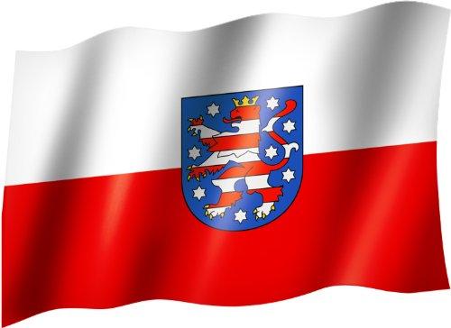 Flagge/Fahne THÜRINGEN Staatsflagge/Landesflagge/Hissflagge mit Ösen 150x90 cm, sehr gute Qualität