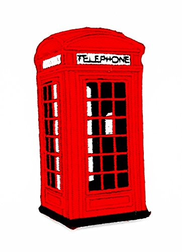 rabana rot Telefonzelle in Paris Cartoon Kids Kinder Cute Animal Patch für Heimwerker-Applikation Eisen auf Patch T Shirt Patch Sew Iron on gesticktes Badge Schild (In Disney Haustiere Kostüme)