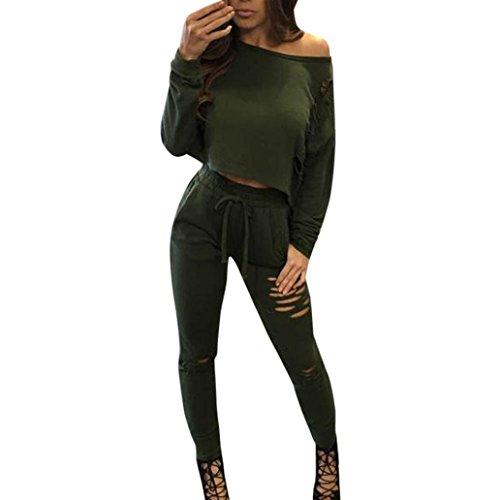 Sannysis Damen Geteiltes Beiläufiges Bodycon Outfit Sportswear (S, Grün) (Klassischen Anzug Taste)