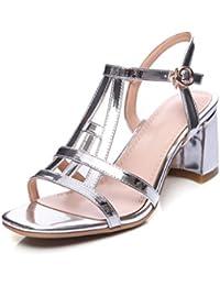 Verano PU Superior Punta Abierta Sandalias Mujer Cuero Brillante Zapatos De Tacón Grueso Tacones Zapatos De Mujer