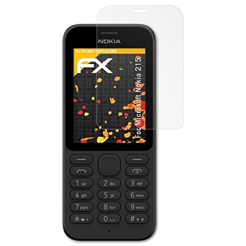 atFolix Panzerfolie kompatibel mit Microsoft Nokia 215 Schutzfolie, entspiegelnde & stoßdämpfende FX Folie (3X)
