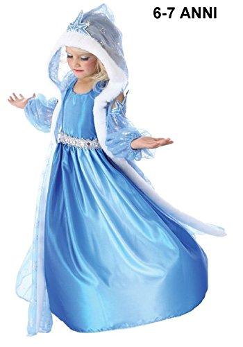 INCEPTION PRO INFINITE ® - TG130 Cappuccio - Costume di carnevale Frozen Elsa celeste - 6 - 7 Anni