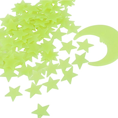 Kesoto set di 1 luna e 99 stelline fluorescenti adesivi plastici da parete per casa decorazione a parete per la cameretta dei bambini