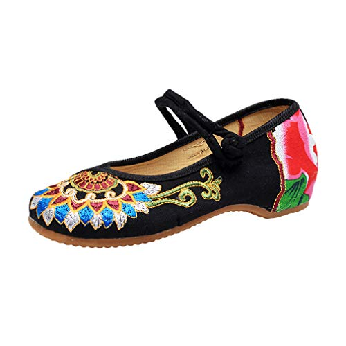 Mary Jane Leinwand Buddhismus Totem Embroideried Frauen Weiche Wedge Chinesische Schuhe Casual Wohnungen Schuhe Tanzschuhe Flats Schuhe Tanzschuhe Damen Espadrilles Flache Hausschuhe (Rote Glitter Mary Janes)