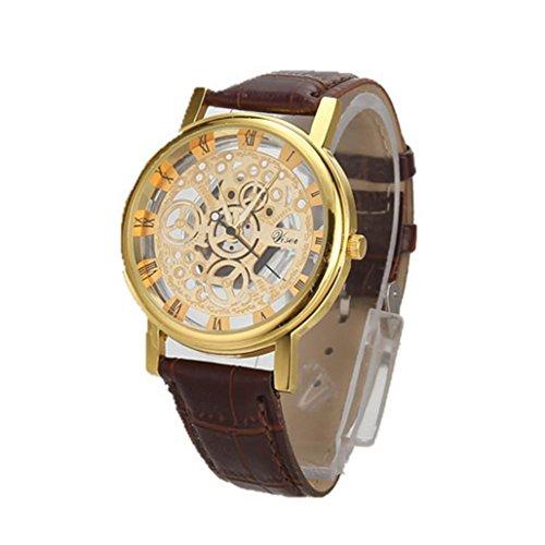 Montres Homme, Amlaiworld Montre de quartz en acier inoxydable de luxe Montre de cuir de sport militaire Bracelet cadran (1, G)