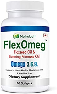 Nutrabuff FlexOmeg Flaxseed Evening Primrose Oil Omega 3.6.9 Fatty Acid Supplement - Extra Virgin Cold Pressed