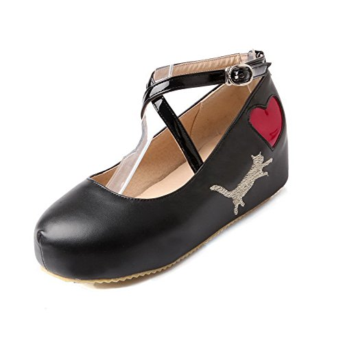 VogueZone009 Femme Pu Cuir Couleurs Mélangées Boucle Rond à Talon Correct Chaussures Légeres Noir