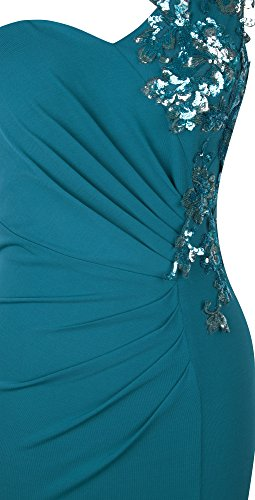Angel-fashions Femme Une epaule Paillette Applique Ruched Divise Longue robe Cyan