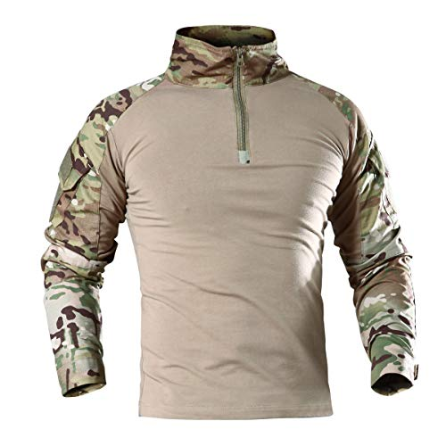 aacbb72acaa KEFITEVD Summer Safari Shirt Men Outdoor Military Camo Tops Climbing Shirts  Paintball Hunting t Shirt Woodland