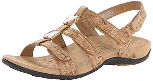 VIONIC Amber - Womens Slide Sandal - Orthaheel Gold Cork - 5 Medium Cork High Heel Slingback