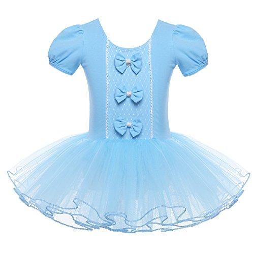 Tiaobug Mädchen Ballettanzug Ballettkleid Kinder Ballett Trikot Baumwolle Tanz Tütü Kleider 98 104 116 128 140 152 Blau ()