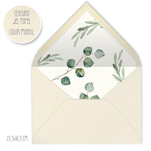 sobres forrados invitaciones de boda-FLORES (22,5x16,5 cm) (eucalipto)