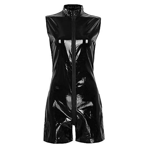 Freebily Damen Body Wetlook Lack Optik Jumpsuit Bodysuit Zipper Clubwear Cosplay Party Kostüm Anzug S-XXL Schwarz XL
