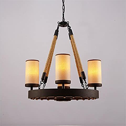Pendant Light creative wrought iron lamps antique rope rope light linen Lampshade wrought-iron Pendant Light red rope