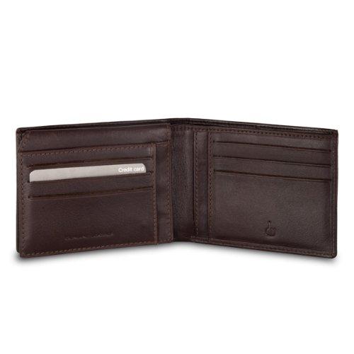 Portafoglio in pelle da uomo con porta carte di credito DV Marrone scuro