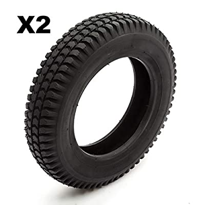 2 Tyre 3.00-8 Black Knobbly Block Tread Fits Mobility Scooter 8 Inch Wheel Rim 4 Ply
