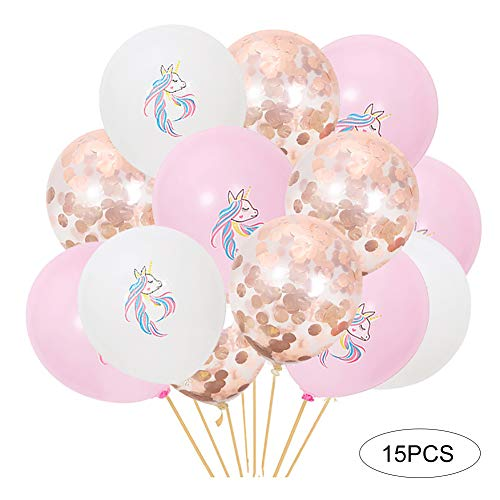 Las decoraciones del partido de los globos del cumpleaños del unicornio 15Pcs incluyen 10pcs unicornio impreso multicolor y 5pcs confeti del oro de Rose