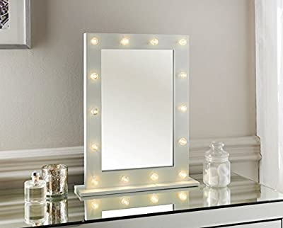 White Hollywood 14 Led Light Vanity Mirror Bedroom Bathroom Dressing Table 50x40 produced by Dylex - quick delivery from UK.