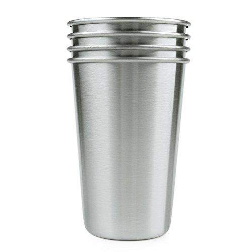 Grau Tee-fleck (ANPI 4 Satz 500ML Edelstahl Tassen, Zerschmetterstofffest Sicher Umweltfreundlich Dauerhaft Lebensmittelqualität Edelstahl Glas Becher für Bier Wein Tee Milch Saft, 12.5*8.5cm)
