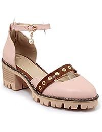 La primavera y el verano Colegio de cabeza redonda del viento y parte con el mayor número de sandalias hueco Pink 42