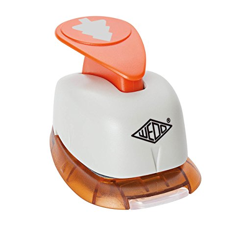 Wedo 168251 Motivlocher groß Tanne (mit praktischem Auffangbehälter, Ausstanzung 2,3 x 2,2 cm) grau / orange -