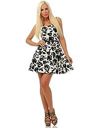 4842 Fashion4Young Damen Mini Kleid Sommerkleid Glockenrock Rosen Minikleid Party Cocktail