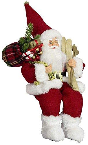 Weihnachtsmann Santa Nikolaus Oliver Kantenhocker mit schönem Gesicht und vielen Details / Größe ca.30cm/ roter Mantel, rote Mütze, rote Hose, Fellstiefel - Trendyshop365