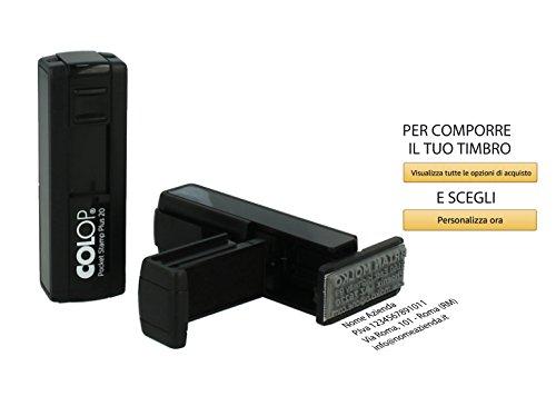 Timbro Personalizzato Tascabile Autoinchiostrante Scegli e Componi Online il Testo 4 Righe Colop Pocket Stamp Plus 20 Inchiostro NERO Dottore Ufficio Scuola Lavoro