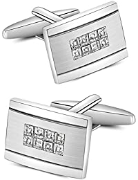 Mr.Van Swarovski White Crystal Cufflinks Glimmering Diamond Color Cuff Links Set for Mens Business Wedding Party Christmas Gifts