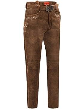 MOSER Trachten Lederhose lang mit Gürtel mittelbraun Paul 110809 von MOSER®, Material Leder