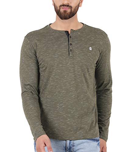 TURMS Stain Repellent & Anti Odour Army Olivine Fancy Full Sleeve Henley Cotton T-Shirt, Large