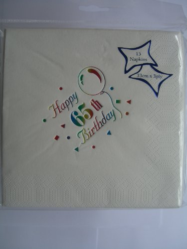 Age 65/65th Birthday - Party Napkins {White/Multi/3 ply} by 65th Birthday