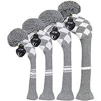 Unisex Stricken Golf Headcovers 4er Set,u. a. Driverkopfhüllen *1,Holzkopfhüllen *2 und Hybrid/UT*1