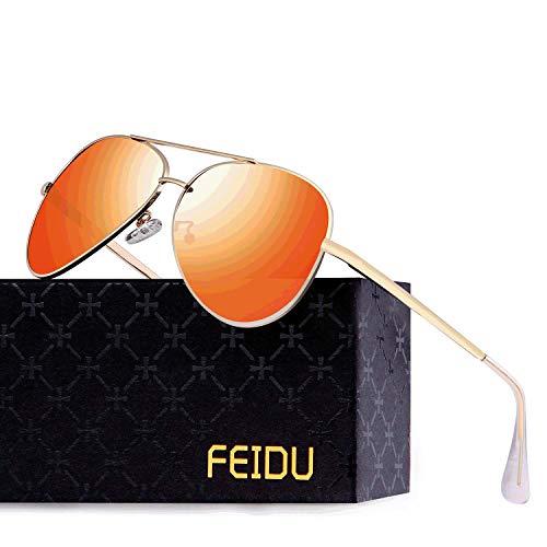 FEIDU Polarisierte Pilotenbrillen Männer Metallrahmen Frauen FD9009 (Orange)