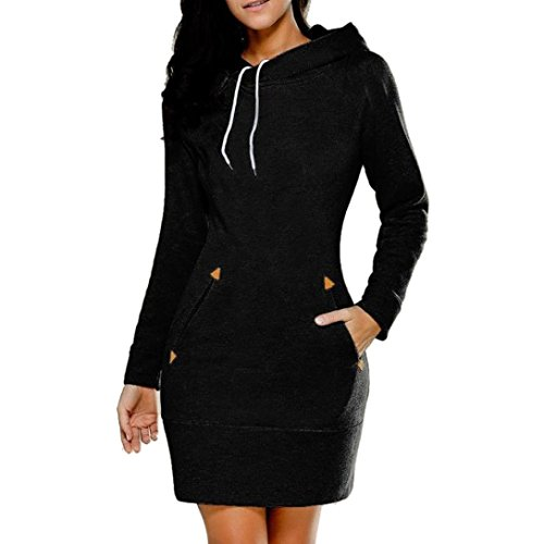 Kostüm Simple Man (LSAltd Winter Simple Hoodie Sweatshirt,Long Sleeve Zipper Strings Silm Mini Dress Big Pocket for damen (Schwarz,)