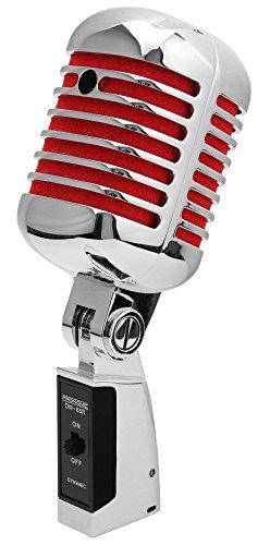 ofon Dynamisches Vintage Gesangsmikrofon Retro Vocal Mikrofon (Frequenzgang: 50-16.000 Hz, Stabiles Druckgussgehäuse) silber/rot ()
