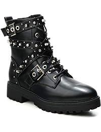 HERIXO Damen Schuhe Stiefeletten Biker-Boots Kunst-Leder Strass Nieten  Reissverschluss geschnürt Schnalle Schmuck 45239a71cf