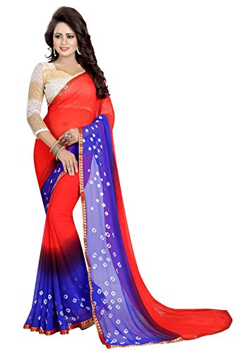 Ishin Poly Chiffon Red & Blue Bandhani Print With Lace Printed With Rassel Net Blouse Fabric Party Wear Wedding Wear Casual Wear Festive Wear Bollywood New Collection Latest Design Trendy Women\'s Sar