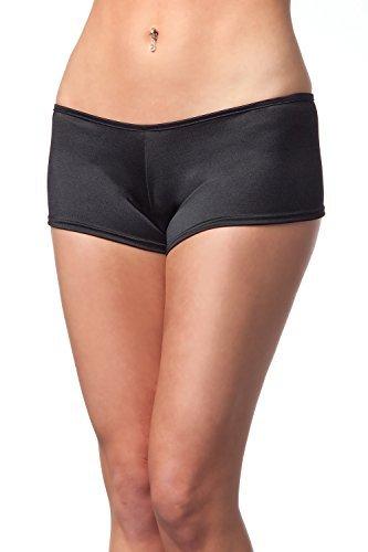 Sexy niedriger Bund Lycra schwarz Booty Shorts Boyshort Schlüpfer Unterhose einfach einfach One & Plus Größe 8 10 12 14 16 18 - Schwarz, One Size (Boyshort Bund)