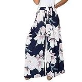 UFACE Striped Print Breites Bein Hosen Frauen Hohe Taille Blumendruck Floral Breite Beinhosen XL/(42), Marine