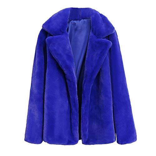 Fur Jacket Damen MYMYG Elegant Wollmantel Strickjacken Wintermantel Faux Pelzmantel Warme Kunstpelz Jacke Pelzjacke Kurzmantel Einfarbig...