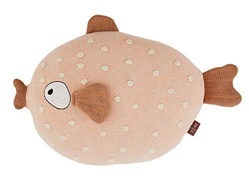 OyOy Mini Ms. Ruth Cushion Stofftier Fisch - Süßes Baby Kinder Kissen Kuschelkissen und Schmusekissen Rosa - Baumwolle 32 x 40 x15 cm