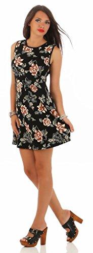 Mississhop Damen Sommer Kleid Minikleid Top Tunika Shirt Rundhals 36 38 40 42 44 Schwarz mit gelben Blumen