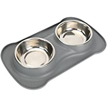 """SAFETY PET DOG FEEDING BOWLS -pampering pet PM1210001 (2017 hot selling),silicone pet double bowls.for large middle and small dog ,cat pet . including 2 set stainless steel bowls ,1 No Spill Silicone Mat and Non-Skid Silicone Bowls 6 oz ,heavy duty,easy clean. 24-hour customer support ,30-days money back guaranteed and 2-years warranty . (11.82"""" x 7.09"""" x 1.58"""", grey)"""
